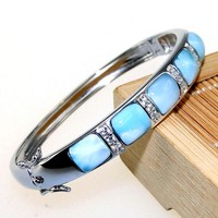 High Quality Natural Larimar Bracelet Nice Larimar Bangle 100% 925 Sterling Silver Bangle Woman Fashion Bangles Anniversary Gift