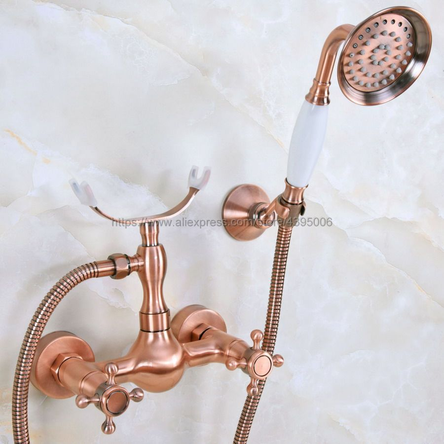 Antique Red Copper Wall Mounted Shower Set Hand Shower Bathroom Double Handle shower faucet Bna345Antique Red Copper Wall Mounted Shower Set Hand Shower Bathroom Double Handle shower faucet Bna345