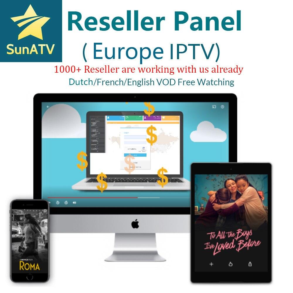 SUNATV panneau revendeur pays-bas IPTV français IPTV arabe anglais Support Android m3u enigma2 7000 live + VOD