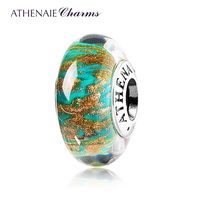 ATHENAIE Genuine Murano Glass 925 Silver Core Green Sandbank Hope Charm Bead Fit All European Bracelets