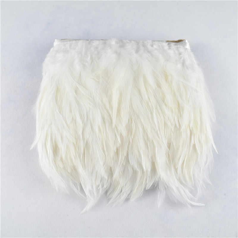 1 야드 8-10cm 흰색 안장 닭 깃털 트림 바느질 깃털 장식 품질 의류 공예 파티에 대 한 깃털 만들기