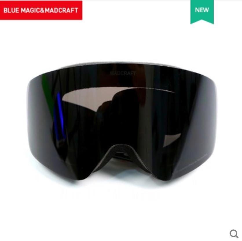 Bluemagic лыжные очки для детей, двойные линзы, мужские и женские очки, снежные очки, унисекс, очки для взрослых, Лыжный спорт, сноуборд, очки UV400 - Цвет: black