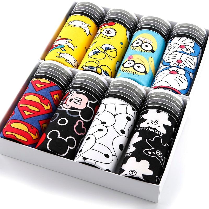 8pcs/lot Funny Male Underpants Man Superhero Underwear Boxer Shorts Trunks Slacks Cartoon Mens Silk Panties Bamboo For Men