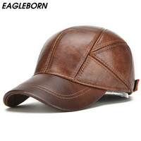 EAGLEBORN 2019 Genuine Leather Baseball Cap For Man Male with Ear Flaps Classic Brand New Black/Brown Gorras Dad Fashion
