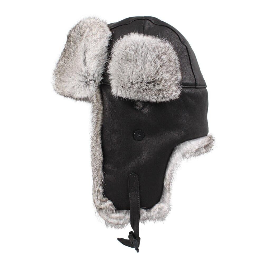a380d6696e3 Kenmont Winter Men Genuine Leather Natural Rabbit Fur Aviator Trapper  Bomber Cap Hat Size M L XL 2160 on Aliexpress.com
