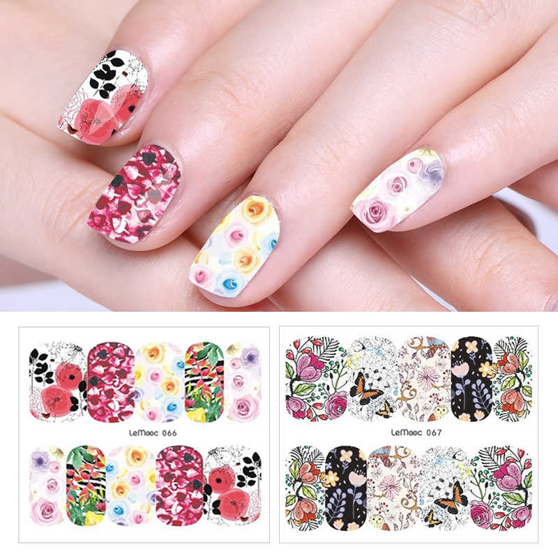 LEMOOC 1 Sheet Flower Nail Transfer Sticker 29 Patterns Water Decal Colorful Nail Art Decoration for Manicure Watermark