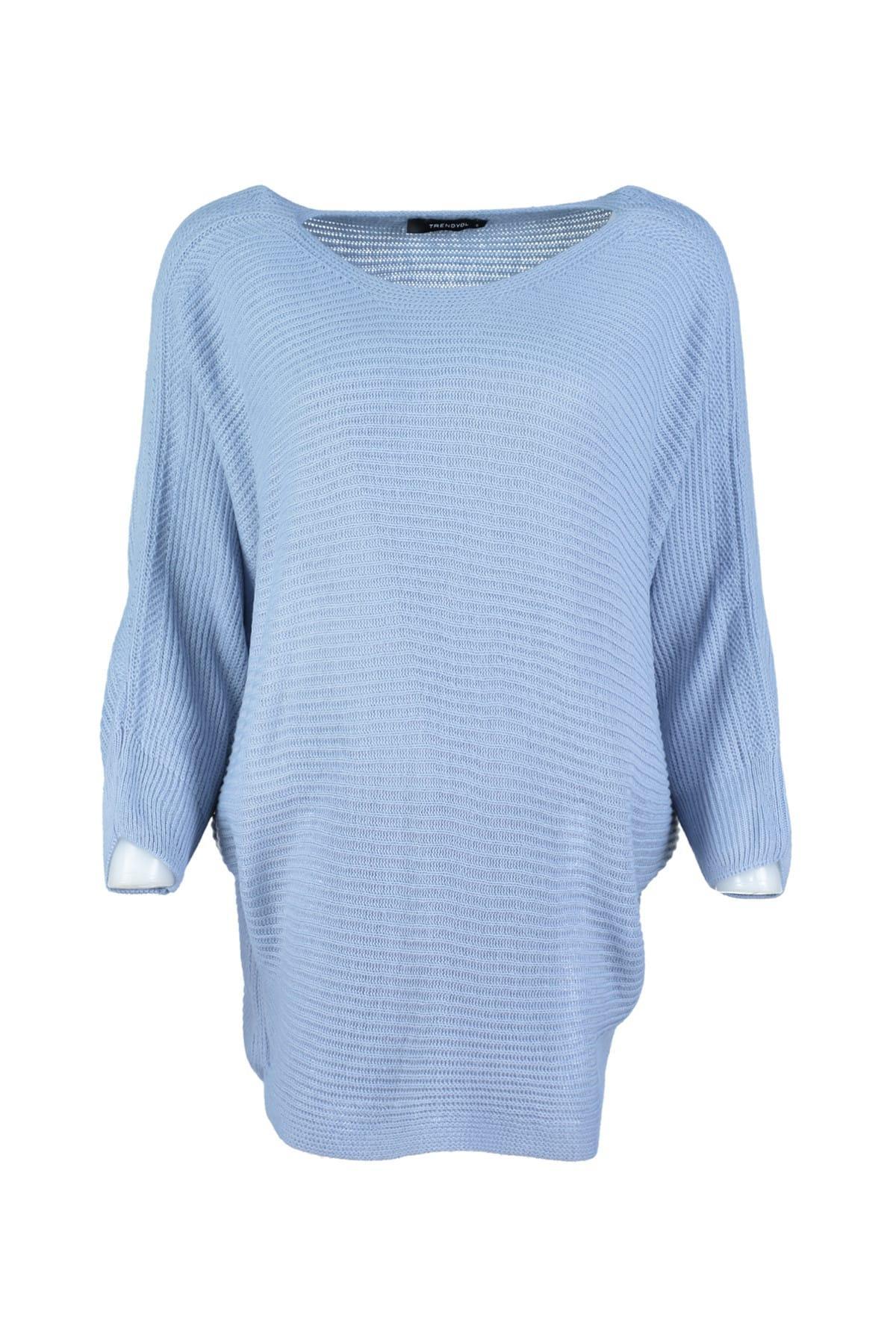 Trendyol WOMEN-Blue Bat Sleeve Sweater Sweater TWOAW20ZA0015