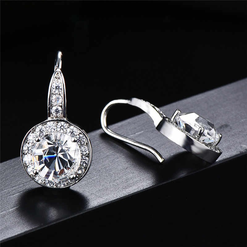 Bamos New Fashion Women Round Earrings With AAA Zircon 925 Sterling Silver Filled Wedding Jewelry Small Dangle Earrings Gifts