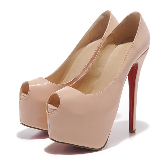 58a916f6212 16 cm Heels Red Bottom Shoes High Heel Pumps Nude Black Peep Toe High Heels  Platform Pumps