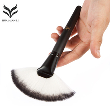 Huamianli 1PC Soft Imported Synthetic Hair Large Fan Makeup Brush Blush Powder Foundation Make Up Big Fan Shape Cosmetics Brush