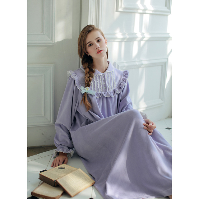 Free Shipping Women s Velvet Cotton Nightgown Thicken Winter Roman Holiday  Princess Pyjama Long Ankle-Length 5d53af27b