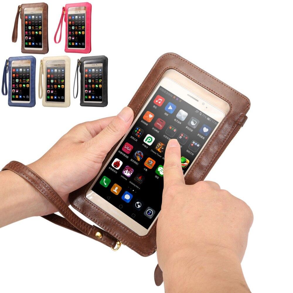 Fashion Leather Case Touch Screen + Small Shoulder Crossbody Pouch + Wallet Bag for Sony Xperia Z5 premium Z4 Z3 Z2 Z1 M5 C5 E4