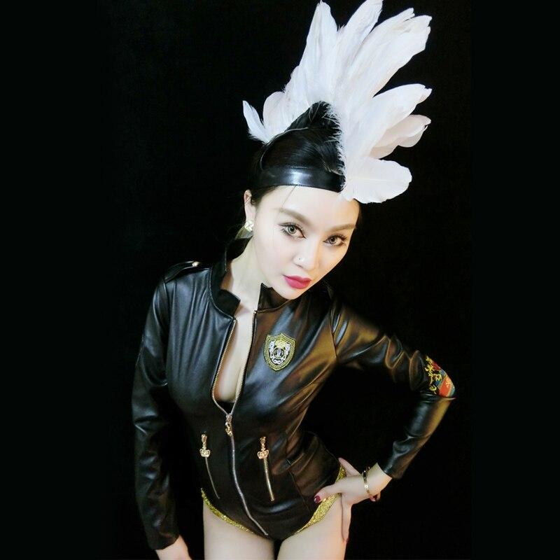 DJGRSTER Ds performance porter femme chanteuse mode dj sexy PU body + couronne chanteur Costume mode scène costumes pour chanteurs