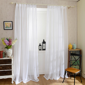 Cheap Solid White Curtains for Kitchen Living Room Bedroom Tulle Curtains Organza Door Curtain Plain Sheer Curtains Panel Drapes wire