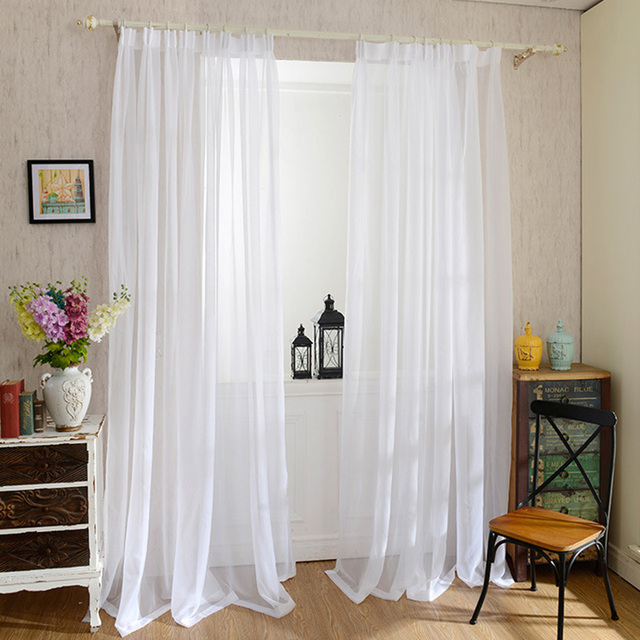 Cheap Solid White Curtains For Kitchen Living Room Bedroom Tulle Curtains  Organza Door Curtain Plain Sheer