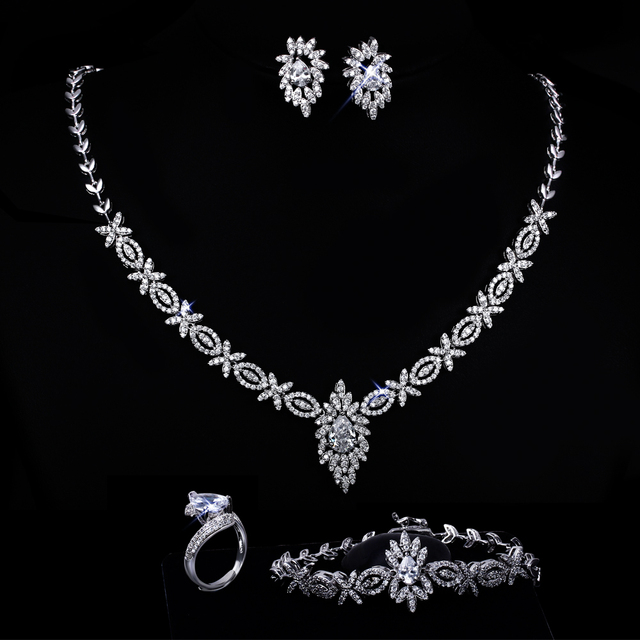 Women wedding Jewelry Sets gold plated with cubic zircon 4pcs sets ( necklace + bracelet + earrings + ring) free shipment