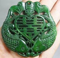 CHINESE OLD HANDWORK CARVE GREEN JADE FISH BAT PENDANT/ Free Shipping