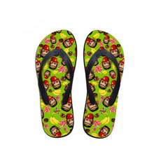 Customized Funny Cartoon Monkey Printing Flip Flops Men Fashion Summer Rubber Beach Slippers for Male Teenagers Leisure Sandals(China)