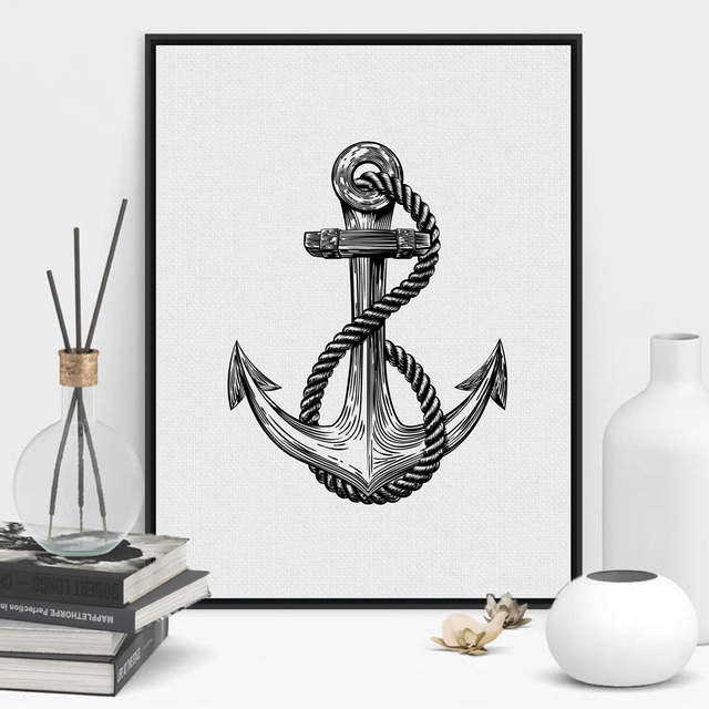 Rustic Nautical Anchor Art Wall Decor , Anchor Print Beach Art ...