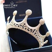 HIMSTORY Sparkly Full Crystal Tiara Handmade Rhinestone Big Crown Bridal Hair Accessories Royal Queen Princess Wedding Hairwear