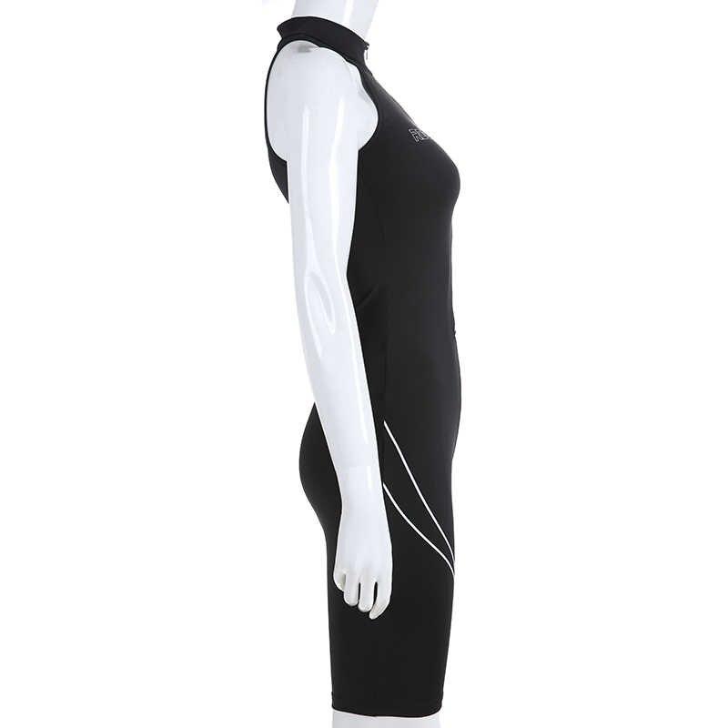 Weekeep черная Облегающая рубашка без рукавов для женщин с буквенным принтом спереди на молнии Комбинезоны для женщин s комбинезон уличная Боди Комбинезоны