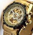 Ganador Reloj luminoso Relojes Mecánicos Automáticos de los hombres Clásico Reloj Mecánico de Acero Inoxidable Cruzado de La Manera Reloj de Pulsera 2015