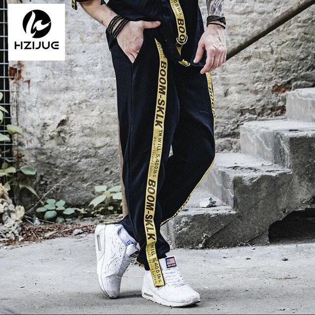 9394972f7afcf 2017 oversize Pantalones de chándal cinta cordón elástico Pantalones marca  ropa carta negro hip hop rap