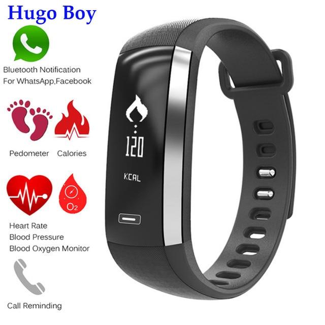 7a255bc18689 € 24.94 |¡Hugo Boy!! Pulsera inteligente presión arterial sangre oxígeno  Push mensaje display monitor de ritmo cardíaco para el deporte reloj ...