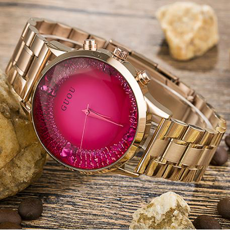 Ladies Watch Luxury Reloj Mujer GUOU Fashion Women's Watches Rose Gold Stainless Steel Watch Diamond Clock Women relogios saat guou glitter diamond watch women watches luxury rhinestone women s watches rose gold ladies watch clock saat relogio reloj mujer