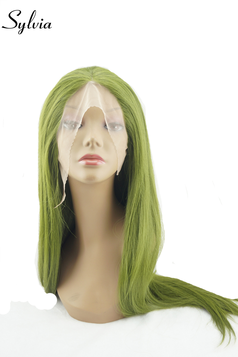 sylvia olive green silky straight synthetic lace front wigs green natural look long heat resistant fiber