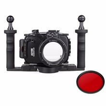40m 130ft Waterproof Underwater Camera Housing Case Bag for Sony A5100 16-50mm Lens + Two Hands Aluminium Tray + 67mm Red Filter