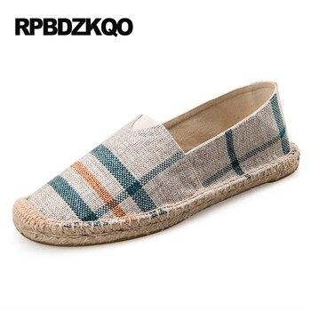 Retro 12 Zapatos | Pajilla 12 Tela Moda Pescador Alpargatas 13 Mocasines étnicos Gran Tamaño Rayado 45 Cáñamo Pisos Mujeres Retro Zapatos De Lona