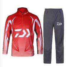 2017 Daiwa/Rybackie Dawa zestawy Odzieżowe Mężczyźni Oddychające UPF 50 + Koszula Ochrona UV Na Zewnątrz Sportowej Garnitur Lato Połowów spodnie