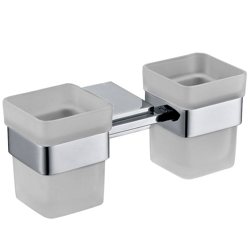Morror Polished SUS304 Stainless Steel Bathroom Double Glass Cups Tumbler Holders Toothbrush Cup Holders Bathroom Accessories