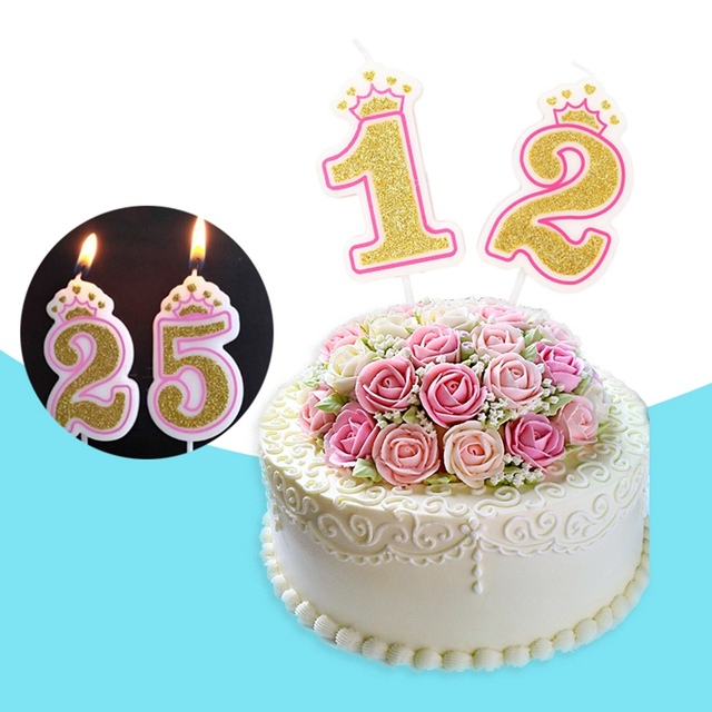 Gold Glitter Pink Number 0 9 Cake Candle Toppers Kids Birthday Party Favors Personalized Happy Decorations Silver