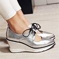 Nova marca de Dedo Apontado Sapatos de Cunha Das Mulheres do Salto Bomba 8 cm Confortáveis Mulheres Casuais Sapatos de Plataforma Alta Qualidade Superstar