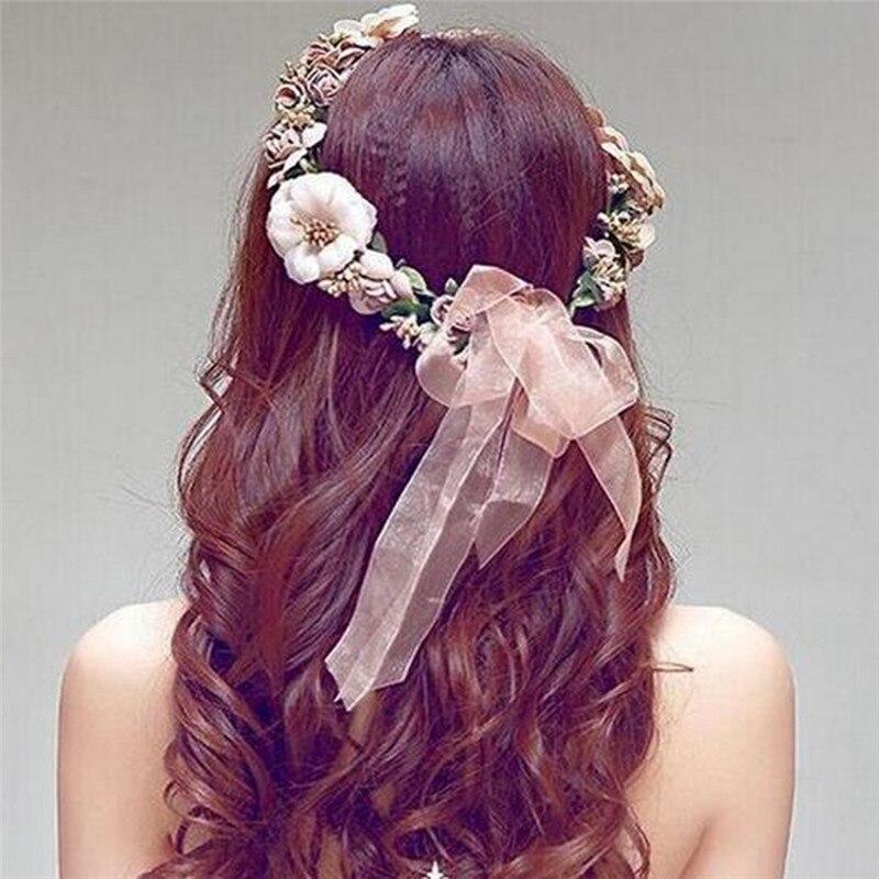 Boho Flower Floral Hairband Wedding Hair Accessories For Women Headband Crown Party Bride Tiara Crown Hair Jewelry