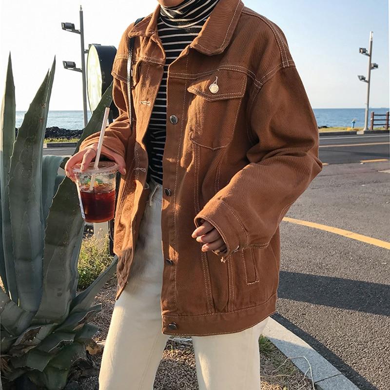 Punk Style White Black Loose Basic Denim Jackets Women Over Size Turn Down Collar Autumn Jeans Jacket Coat Boyfriend Jacket Coat