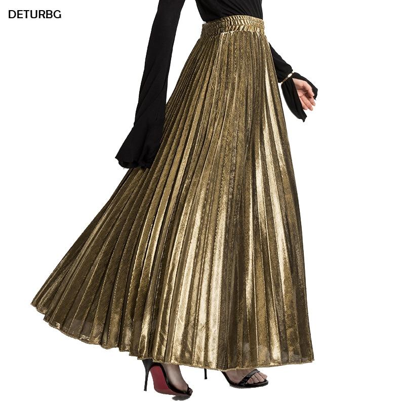2018 Spring Metallic Pleated Maxi Skirt High Waist Harajuku Large Swing Gold Long Skirts For Women Plus Size XXL Saias SK275