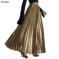 2018 Spring Metallic Pleated Maxi Skirt High Waist Harajuku Large Swing Gold Long Skirts For Women Plus Size XXL Saias SK275