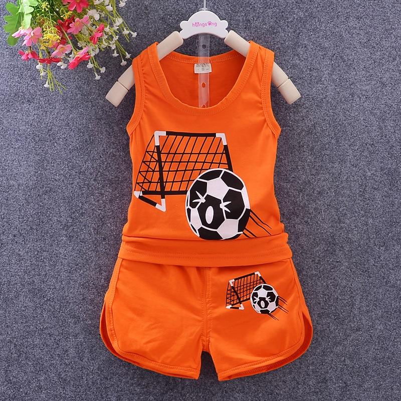 d543d83e6011 summer new baby boys clothing set children clothing Football ...