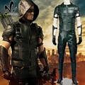 2016new temporada 4 Cosplay Traje de Superhéroe Green Arrow Oliver Queen flecha verde de cuero disfraces disfraces de Halloween para hombres adultos