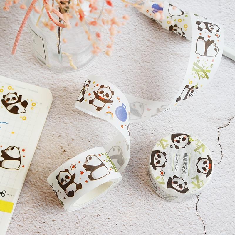 Colored Washi Tape Set Sticky Decor Masking Paper Scrapbook DIY Panda Pattern Office Stationery Decorative Adhesive Tape
