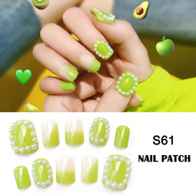Fluorescent Green Nail Patch Avocado Fruit Color Fashion White Birthday Party Essential Women and Girls JIU55