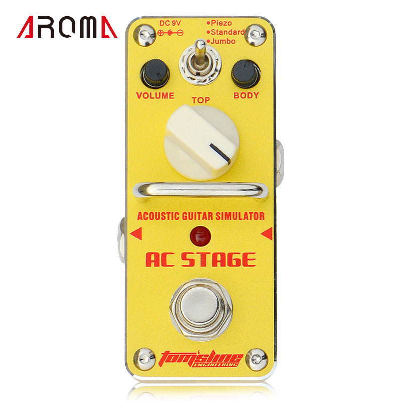 AROMA AAS-3 AC Stage Acoustic Guitar Simulator Mini Single Electric Guitar Effect Pedal with True Bypass aroma aos 3 octpus polyphonic octave electric guitar effect pedal mini single effect with true bypass