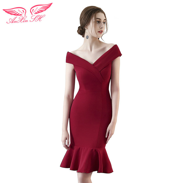 Anxin Sh Red Ruffles Evening Dress Costume Color Yarn Princess Short Trumpet V