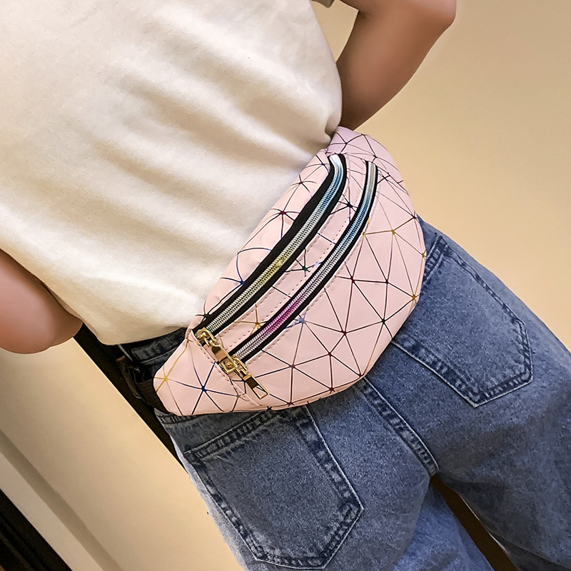 Women's Fashion Waist Packs Personalized Rock and Roll Color PU Leather Flashing Lattice Belt Bag Ne