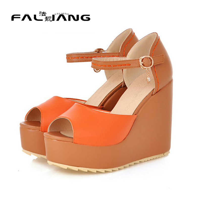 ФОТО 2017 Women Pumps Fashion New Bohemia Colorful Wedges Summer party Shoes High Heels Peep toe Ladies Women's Platform Pumps