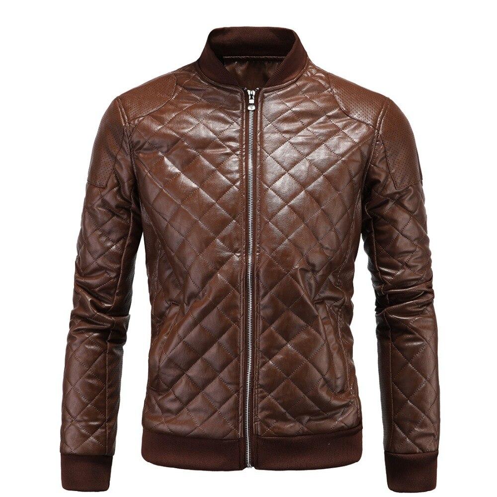 Zzooi Baru Tiruan Jaket Kulit Pria Ukuran Besar PU Kulit Bergaya Jaket untuk Pria Tebal Hangat Ramping Sesuai Sepeda Motor Pengendara Sepeda mantel Pria-Internasional