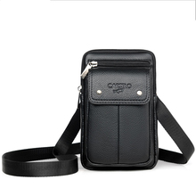 Mens shoulder bag soft PU material trendy fashion casual simple wind multi-function large capacity design